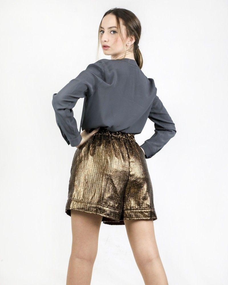 Short oversize en simili lamé bronze Nude