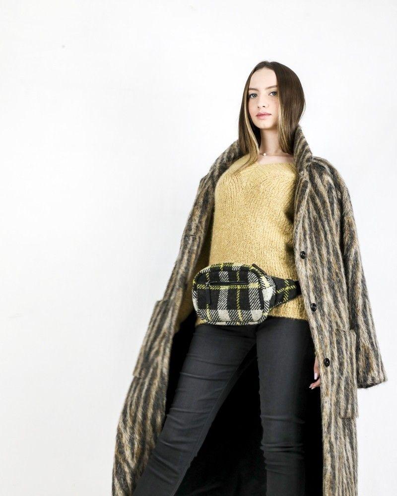 Manteau en alpaga tricolor à motifs animal Momoni