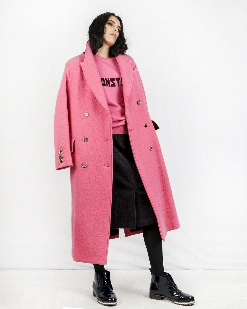Manteau long en laine texturé rose Momoni