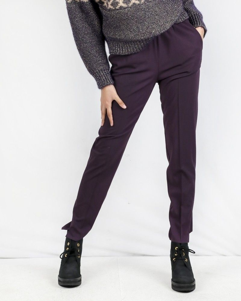Pantalon smocké en laine prune Forte Forte