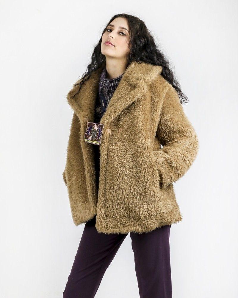 Manteau en fourrure synthétique marron Isabelle Blanche