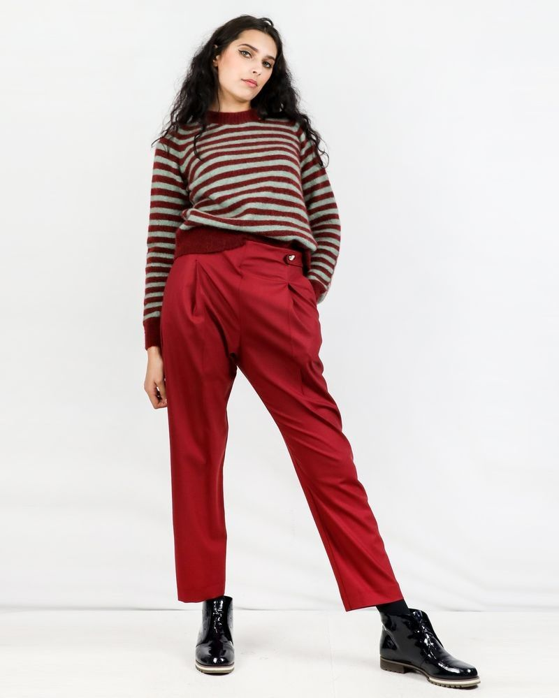 Pantalon en laine rouge Momoni