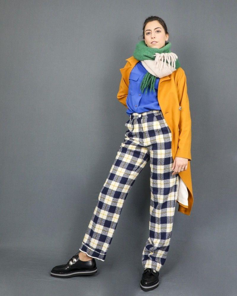 Pantalon droit en laine à motifs tartan Momoni