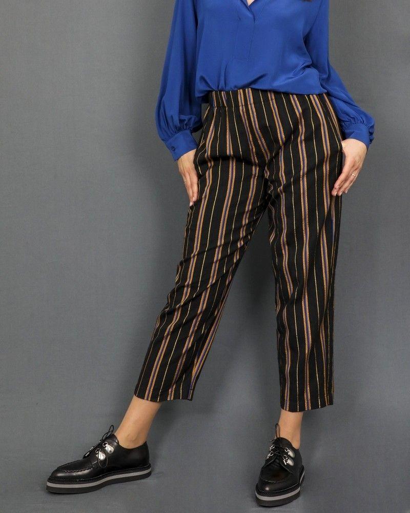 Pantalon à rayures multicolores Forte Forte