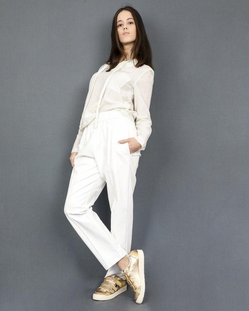 Pantalon blanc en cuir synthétique Nude