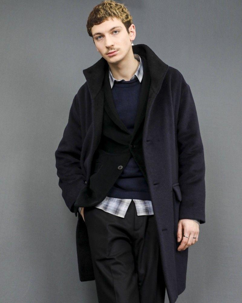 Manteau en laine mélangée à col montant Ly Adams