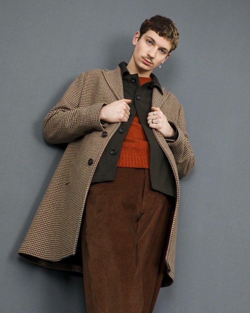 Manteau en laine à motifs pieds de poule Palto