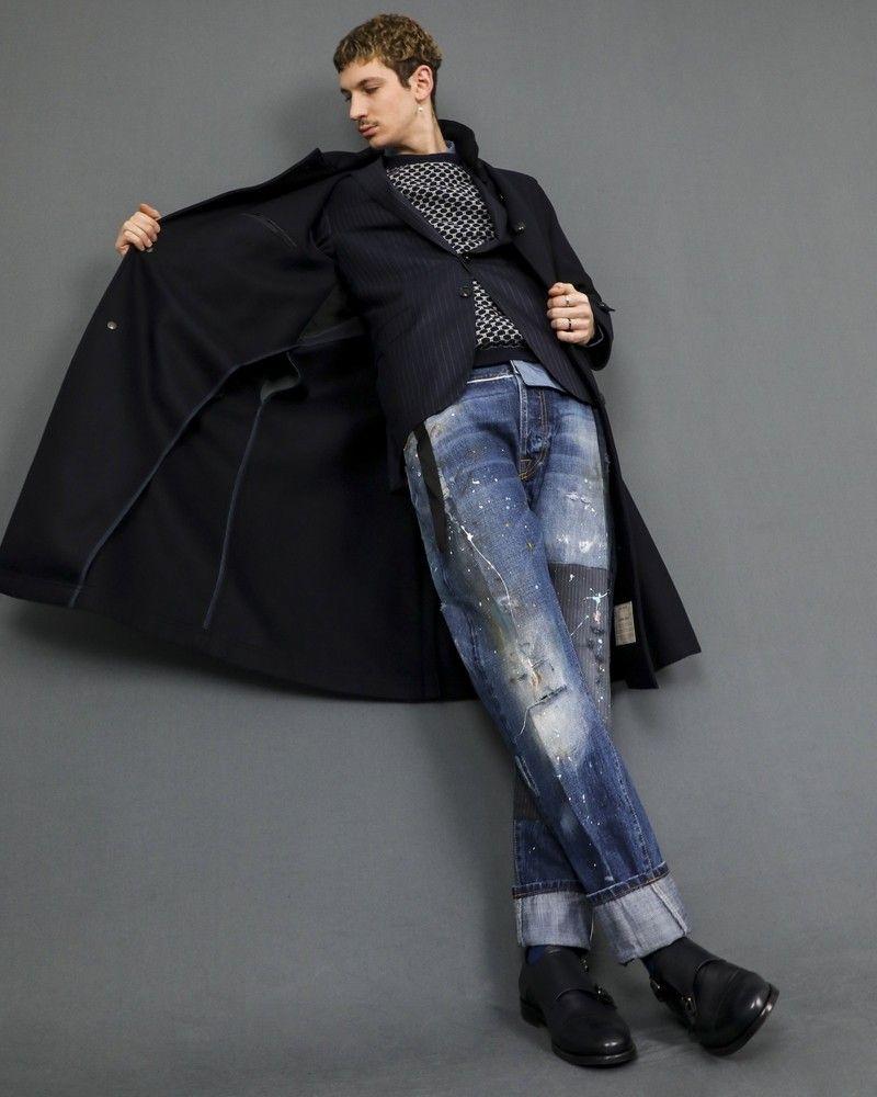 Pantalon en jean taché de peinture Maurizio Massimo