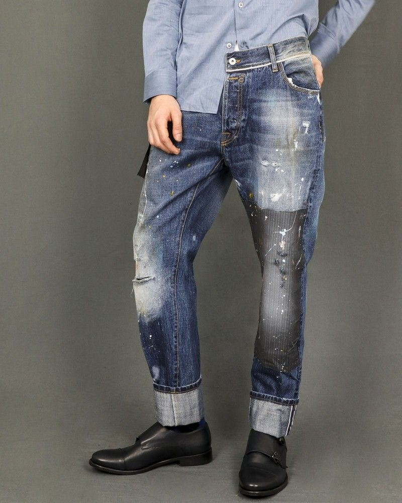Pantalon en jean taché de peinture Maurizio Massimino