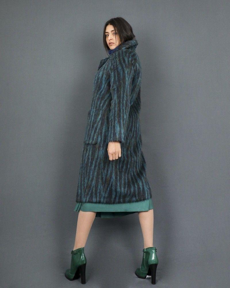 Manteau en laine mélangée à poils colorés Momoni