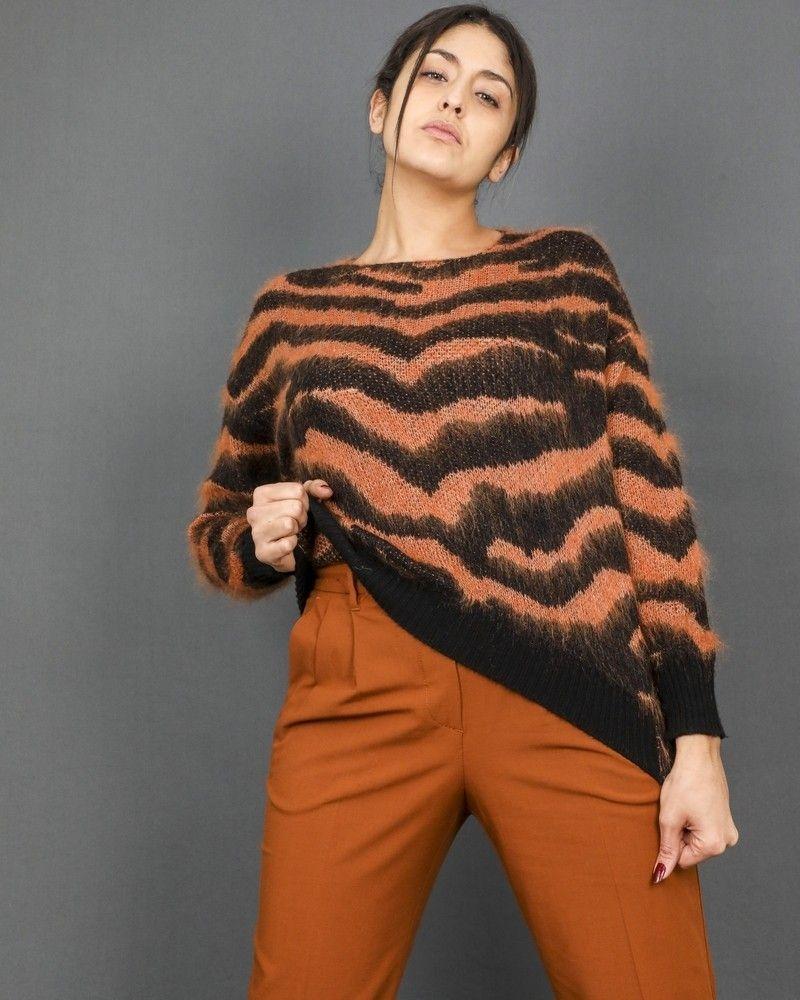 Pull à motifs intarsia léopard Nude