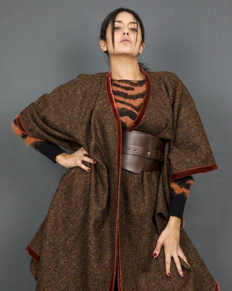 Poncho en laine avec ceinture en cuir Momoni