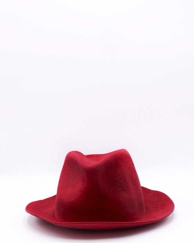Chapeau fedora en cuir de lapin rouge Forte Forte
