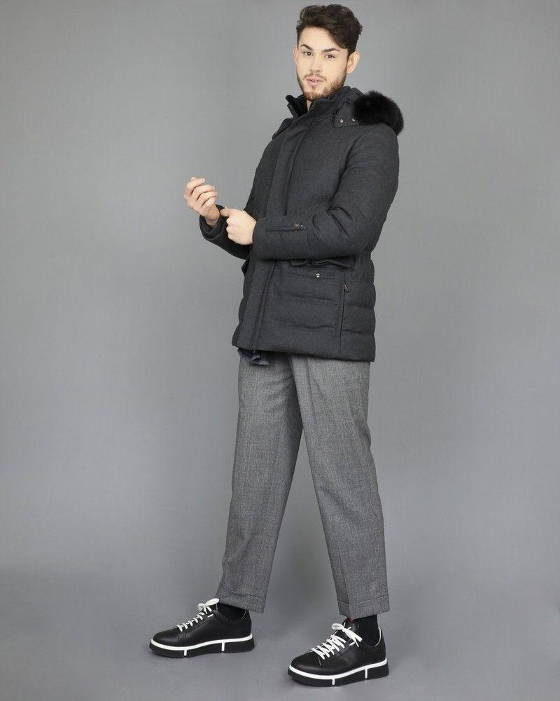 Doudoune en laine chinée grise Corneliani