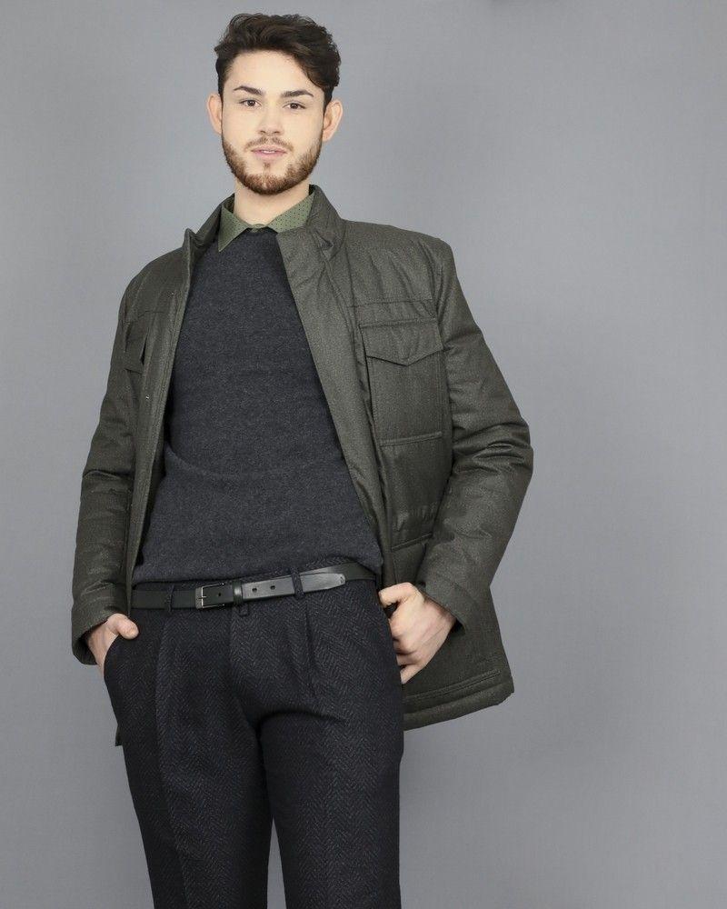 Pantalon tailleur gris à motif chevron Ly Adams
