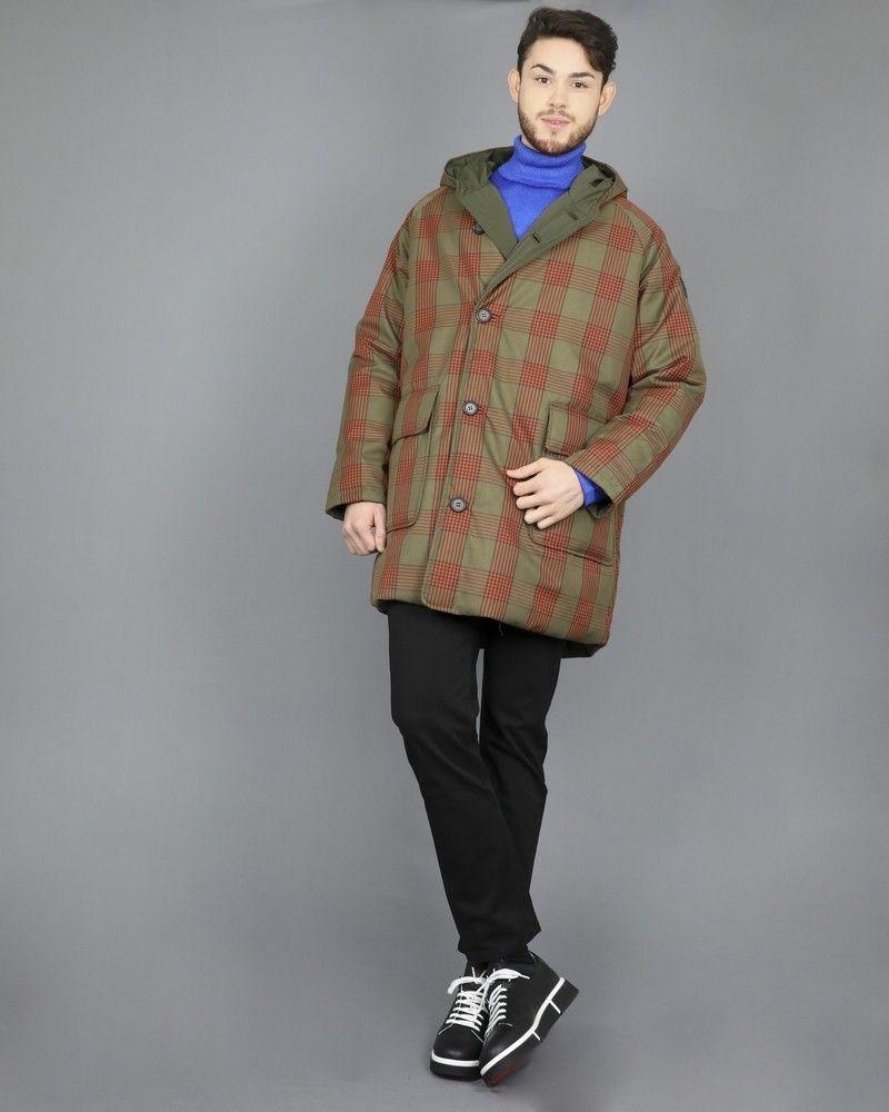 Manteau réversible à motif carreaux vert kaki et orange Oofwear