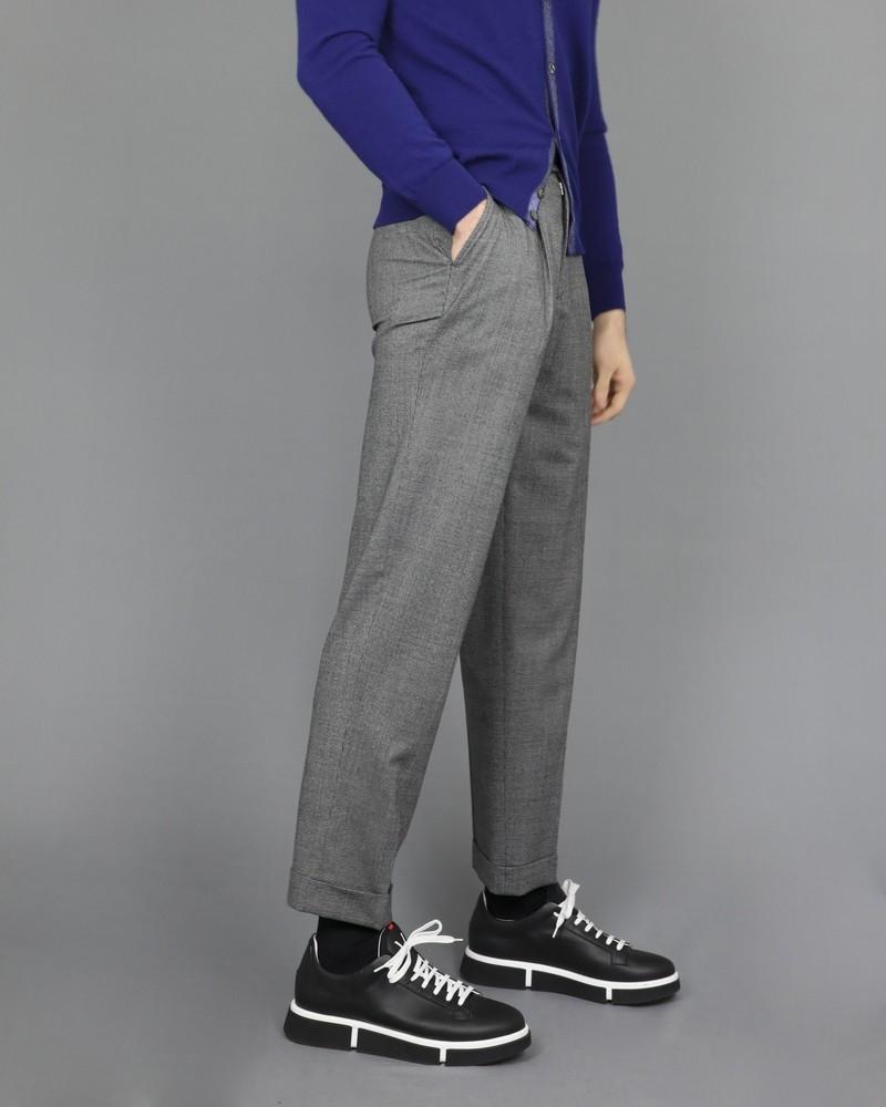 Pantalon en laine à motifs pieds de poule Edition M.R