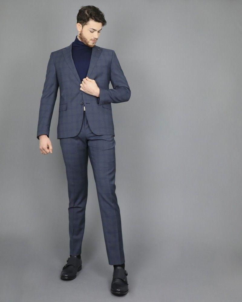 Costume slim en laine grise à carreaux bleus Corneliani