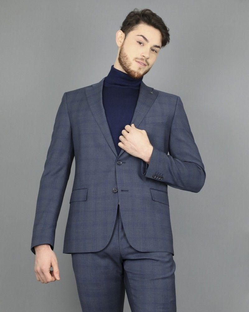 Costume slim en laine grise à carreaux bleu Corneliani