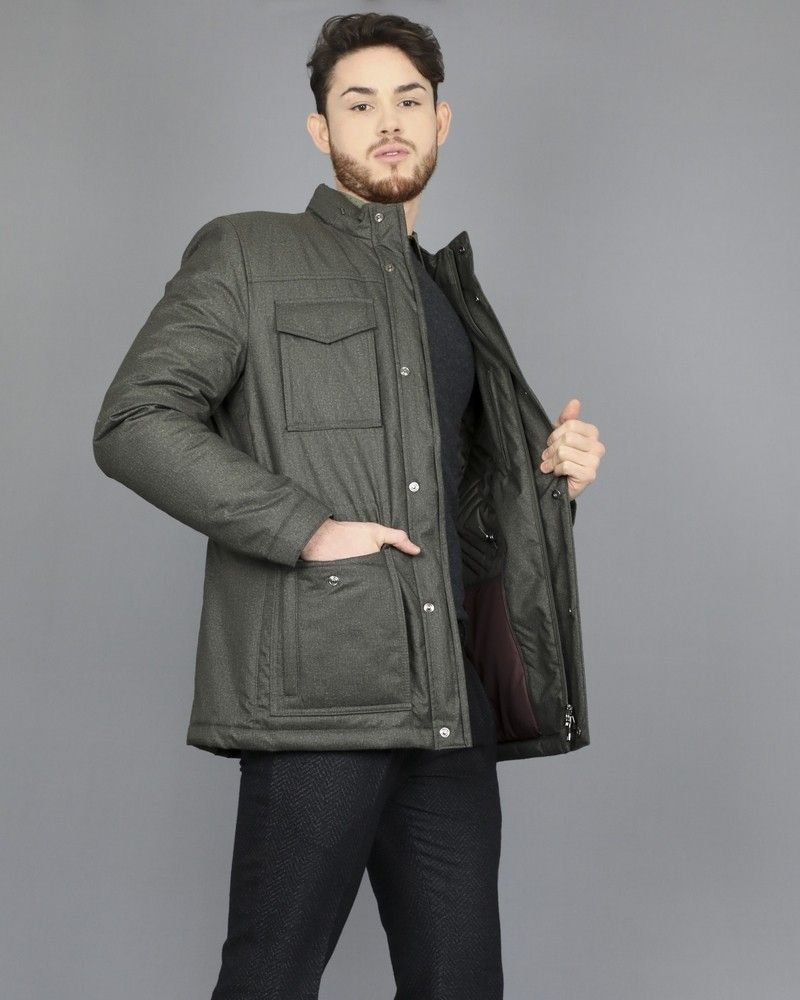 Manteau safari à quatre poches kaki Corneliani