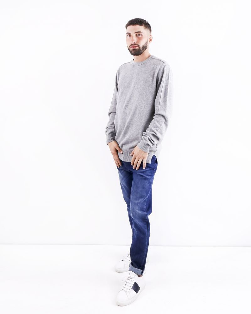 Pull col rond gris clair Woolgroup