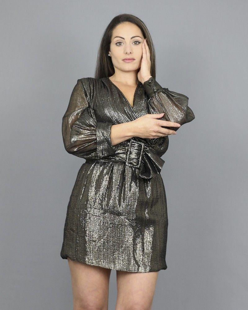 Robe courte en lurex métallisé Space Simona Corsellini