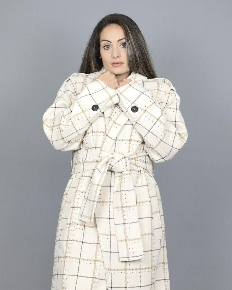 Manteau à carreaux et détails à strass Space Simona Corsellini