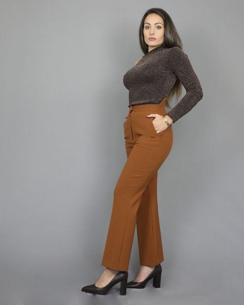 Pantalon raccourci avec baleine camel Space Simona Corsellini