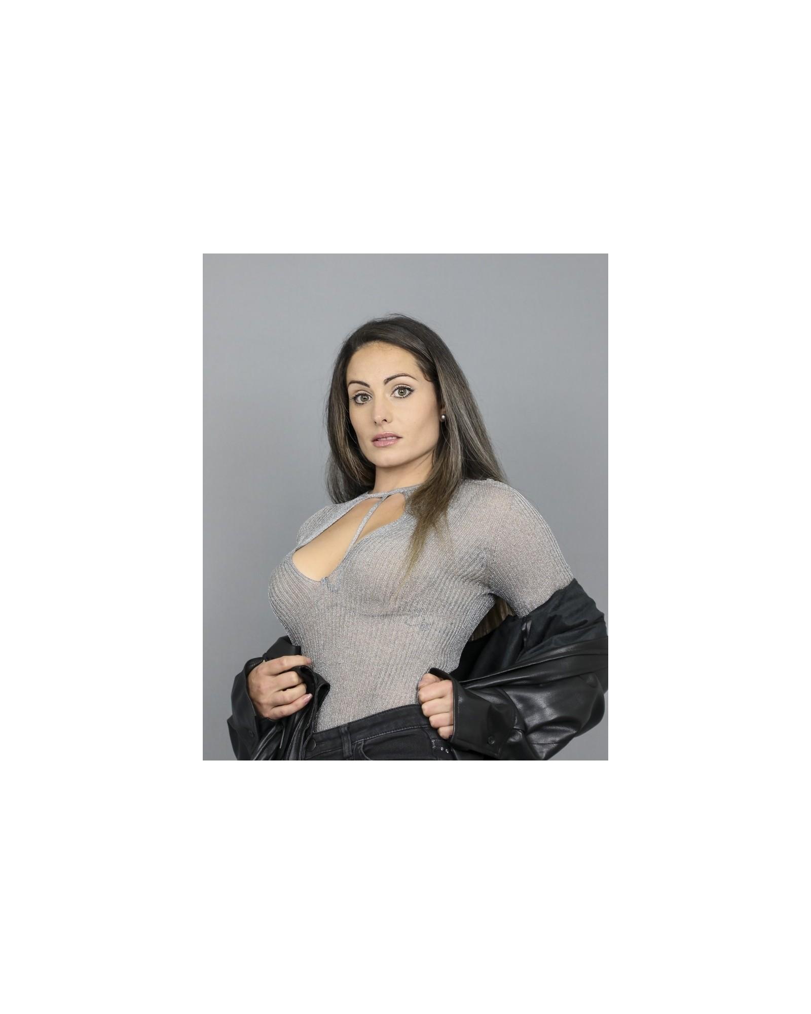 Body en maille transparente métallisée Space Simona Corsellini