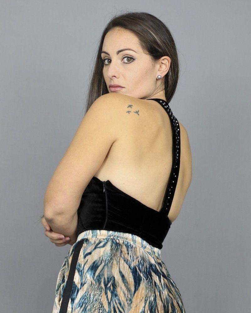 Body à dos nageur plongeant noir Space Simona Corsellini