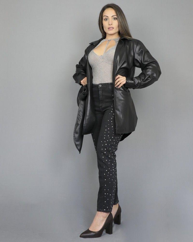 Pantalon jean gris agrémenté de strass Space Simona Corsellini