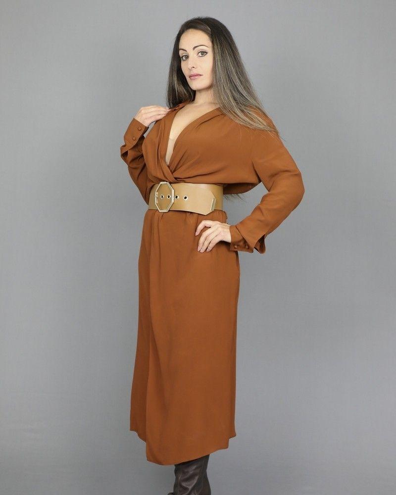 Robe empire longueur midi Camel Space Simona Corsellini