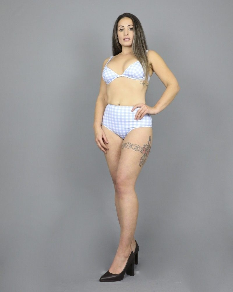 Culotte de bikini motif à carreaux bleu/blanc Ephemera