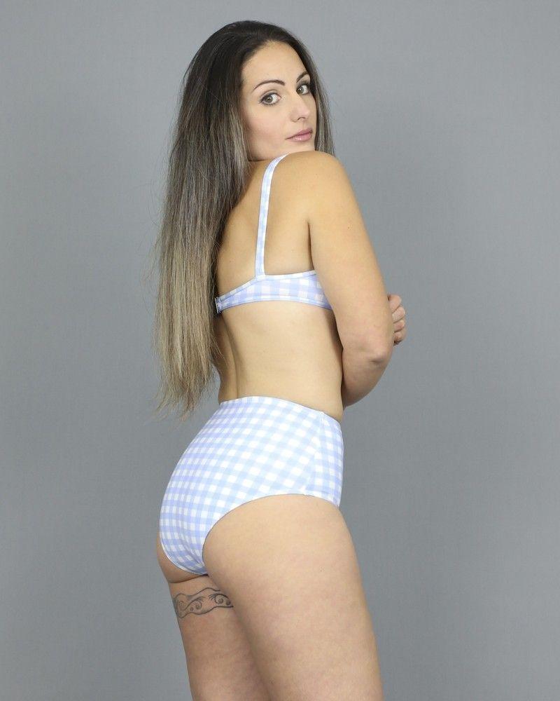 Culotte de bikini motifs à carreaux bleu/blanc Ephemera