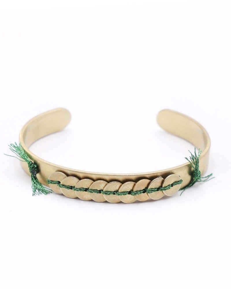 Bracelet fin doré à détails en fils vert Polder