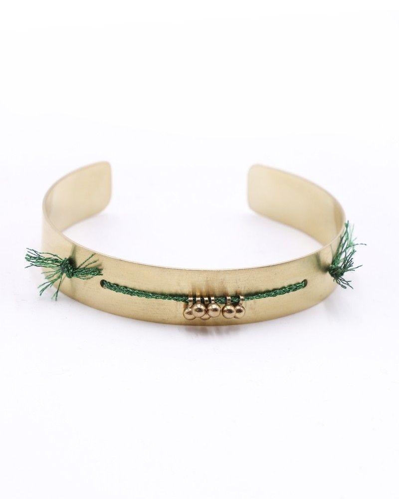 Bracelet de largeur moyenne dorée à détails en fils vert Polder