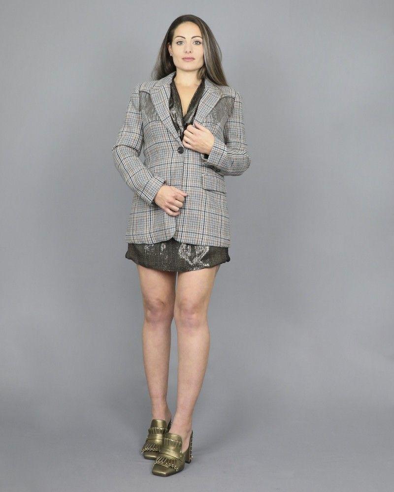 Veste blazer à motifs pied de poule Isabelle Blanche