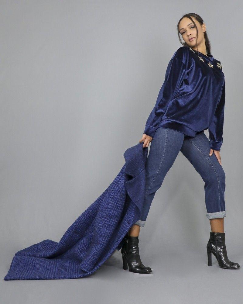 Sweat-shirt en velours orné d'étoiles à sequins L'Edition
