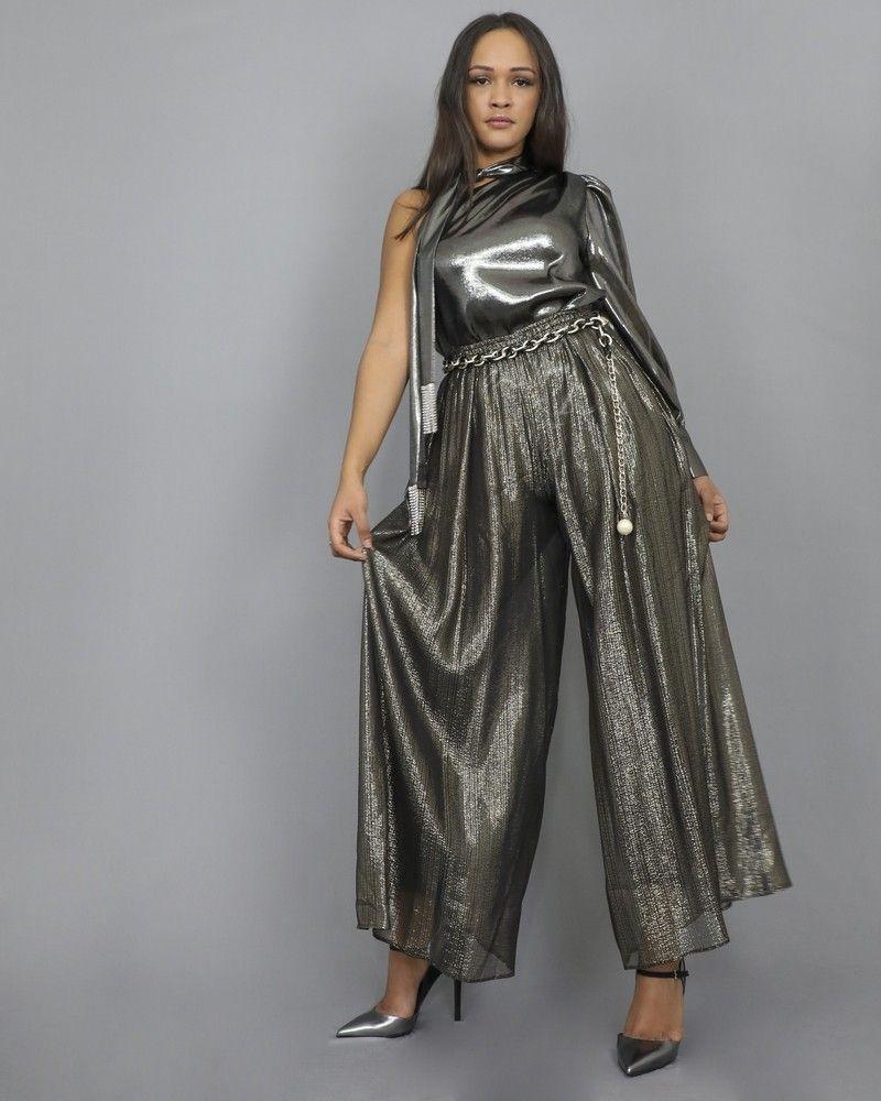 Pantalon en soie mélangée à fines rayures métallisées dorée et argentée Space Simona Corsellini