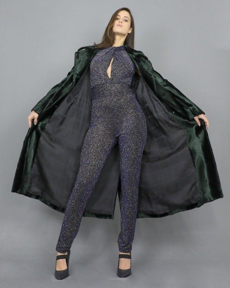 Combinaison à col montant drapé à fibre métallique Space Simona Corsellini
