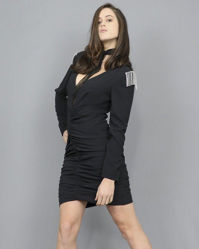 Robe drapée noire ornée de strass Space Simona Corsellini