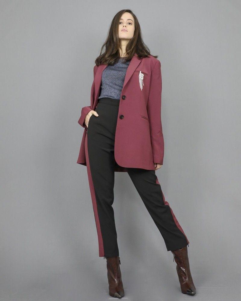 Pantalon slim noir et rose poudré foncé Isabelle Blanche
