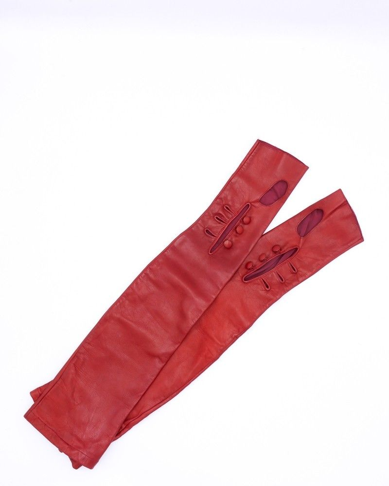 Gants en cuir rouge Maison Martin Margelia