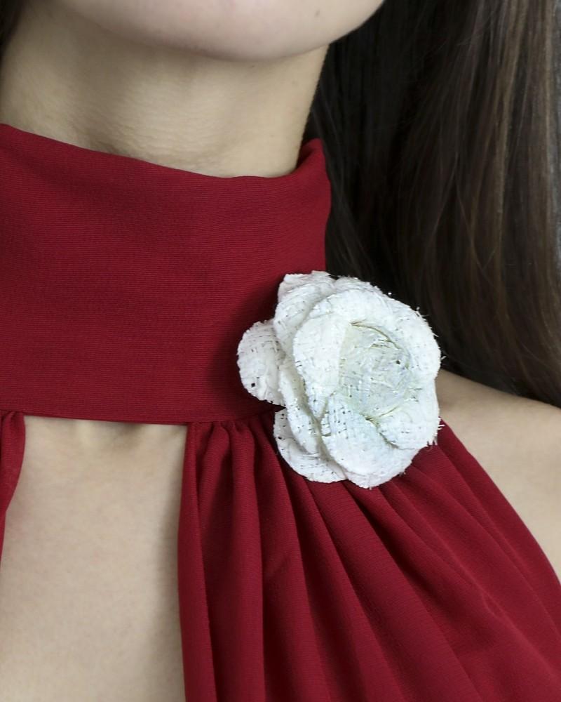 Broche fleur camélia blanche Edward Achour