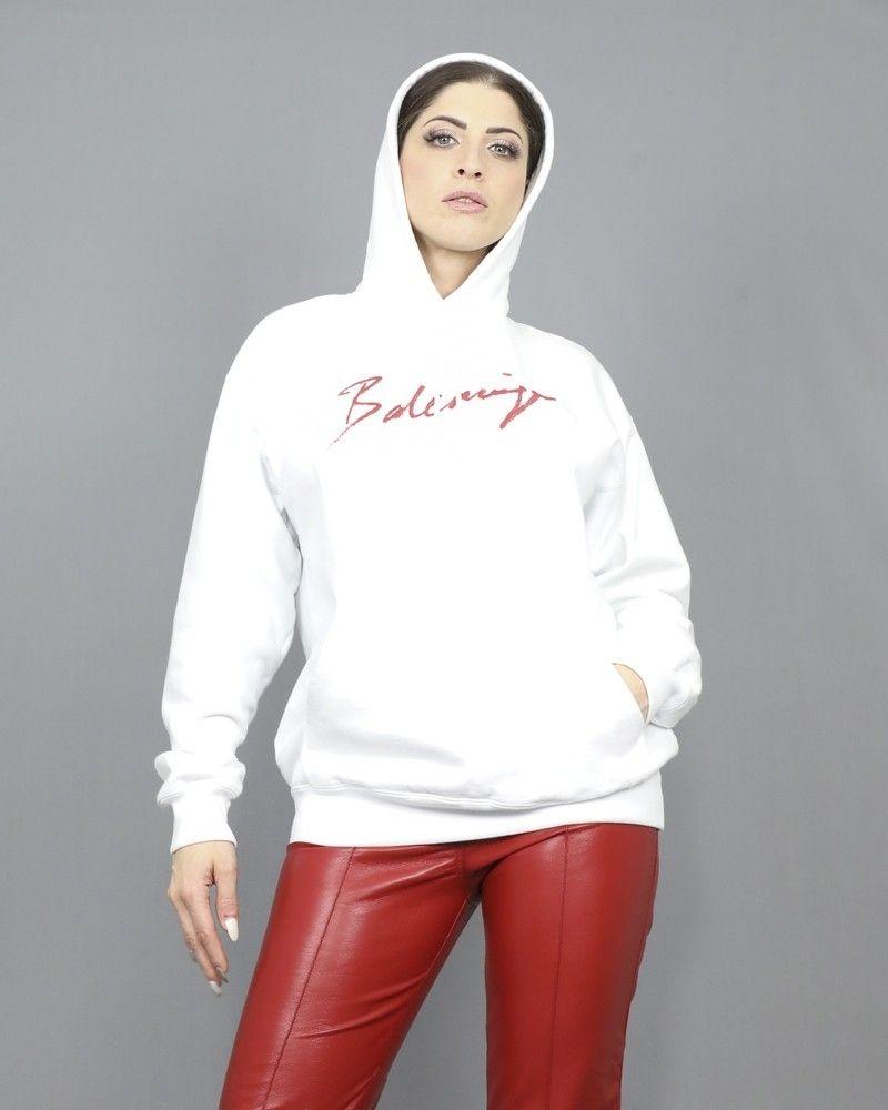 Sweat blanc à capuche et logo Balenciaga Balenciaga