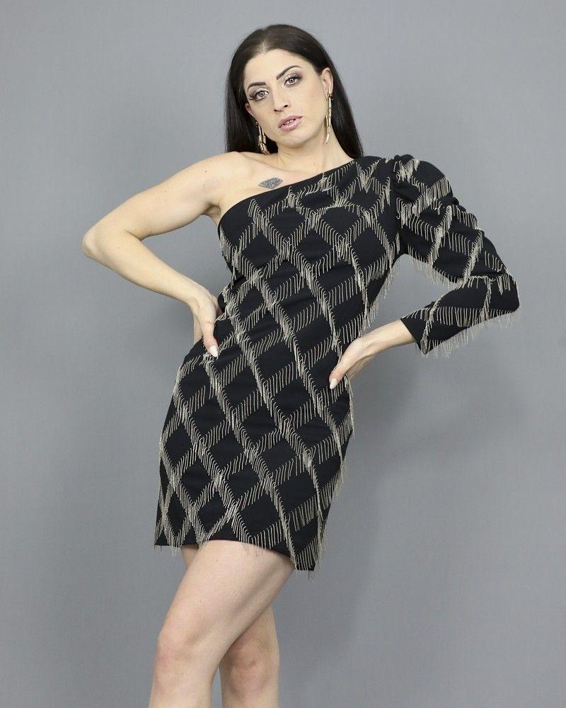 Robe asymétrique ornée de franges en perles Space Simona Corsellini