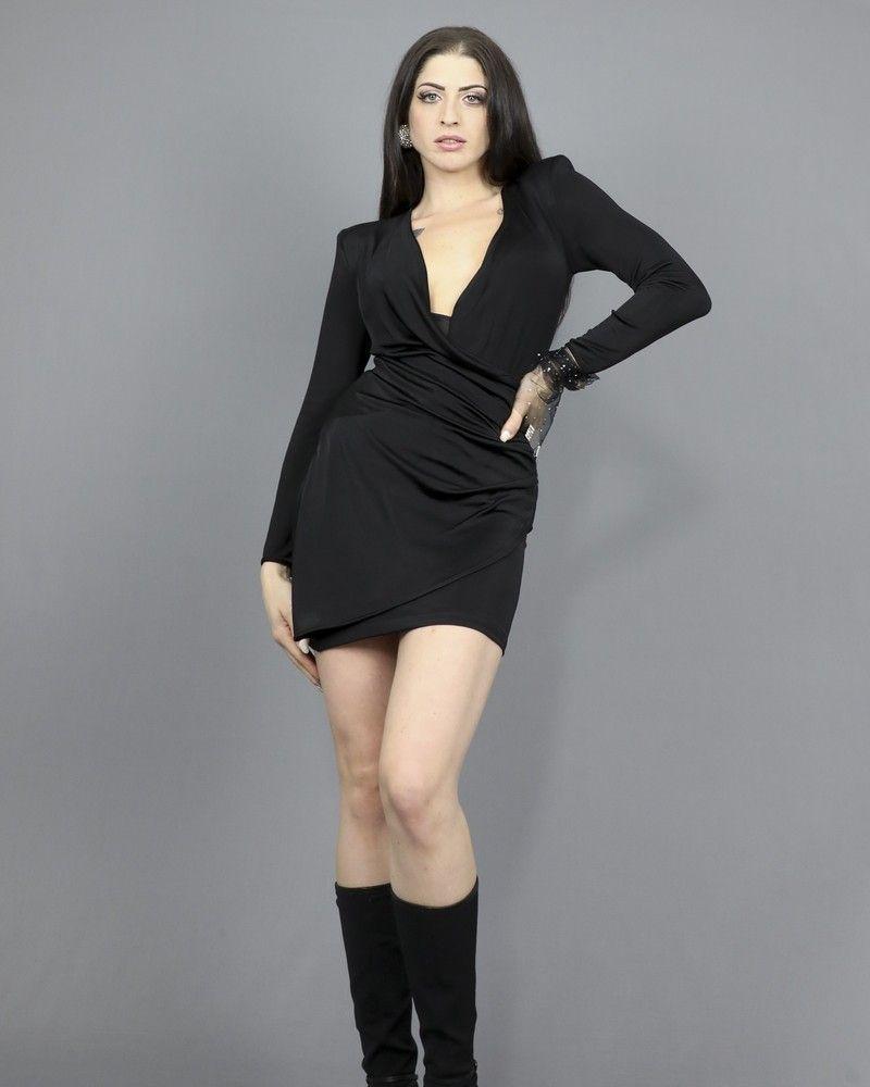 Robe noire drapée et boutons bijoux à strass Space Simona Corsellini