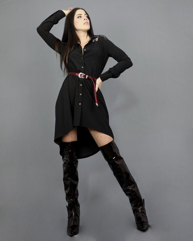 Robe-chemise noire à empiècement en perles Jijil
