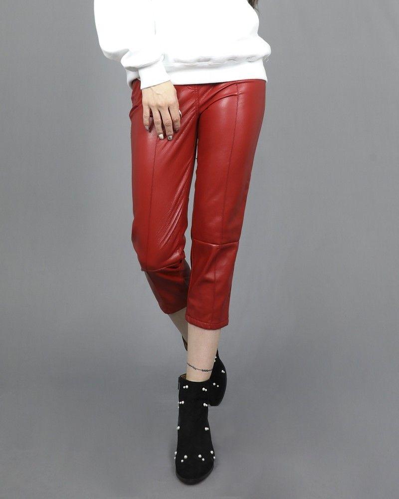 Pantalon rouge en cuir synthétique à ceinture Space Simona Corsellini
