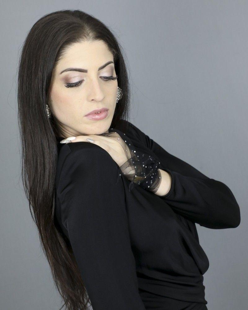 Foulard en tulle ornée de strass Space Simona Corsellini